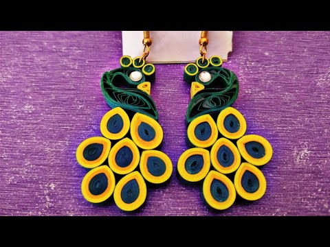 DIY Quilled Peacock Earrings #everythin'quilled by Shiva Iyer
