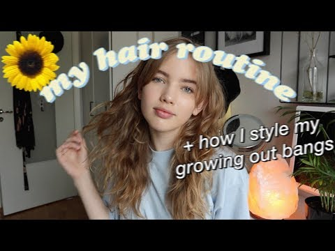 my wavy hair routine (+ how I style my growing out  bangs)