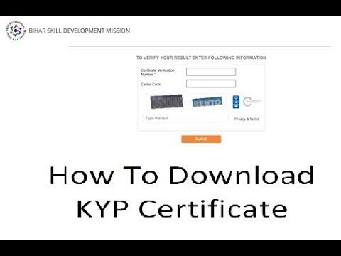 How to download KYP certificate Online Bihar Skill Development Mission (BSDM)