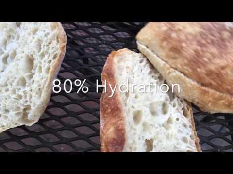 Crumb of CIABATTA 75%, 80%, 85% hydration