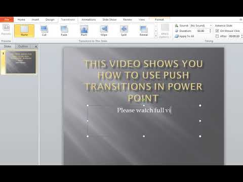 How to use Push Transitions in MS Power Point