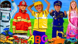 Kids Learn Professions and the ABC with Fire Truck, Excavator & Toy Vehicles | Alphabet Songs