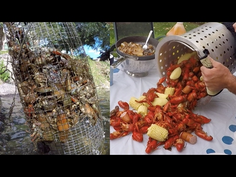 Crawfish Boil with Homemade Crawfish Traps!