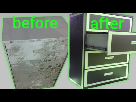 Spray paint file cabinet