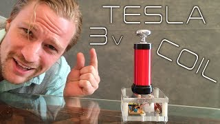 Download DIY 3 volt tesla coil MUSEUM QUALITY Video