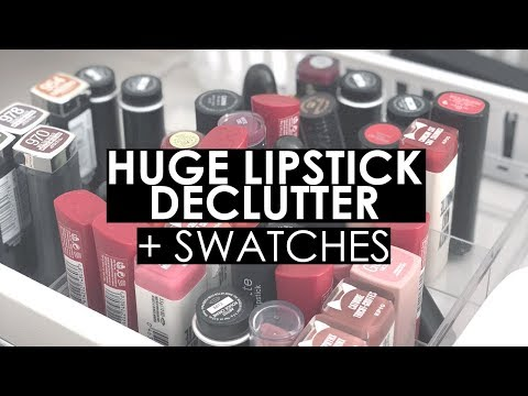 HUGE LIPSTICK DECLUTTER | Swatching All My Lipsticks