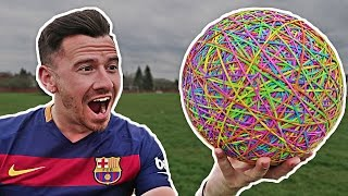 CRAZY RUBBER BAND SOCCER BALL EXPERIMENT!! (10,000 RUBBER BANDS)