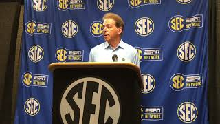 Nick Saban gives animated answer to transfer rule question