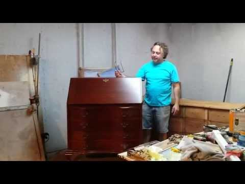 refinishing a  mahogany secretary desk at timeless arts refinishing