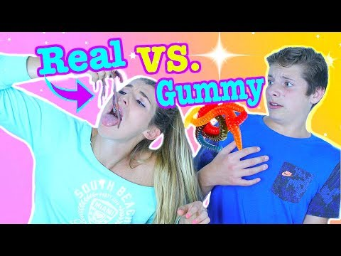 REAL VS GUMMY FOOD CHALLENGE! EATING REAL WORMS