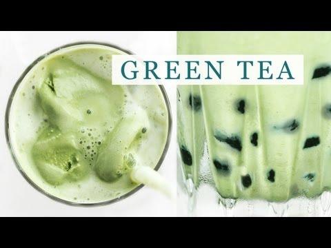 Iced Green Tea Latte - Tapioca Bubble Tea Recipe 그린티 라떼 만들기 - 한글 자막