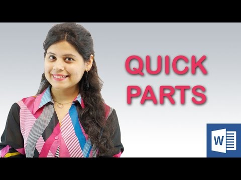 MS Word 2013 Tutorial | Quick Parts in Hindi || Chapter 11 | Video 5