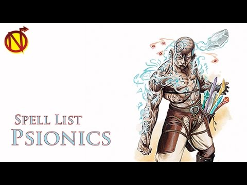 Spell List for Psionics in my Homebrew for Dungeons and Dragons 5th Edition with Nate the Nerdarch