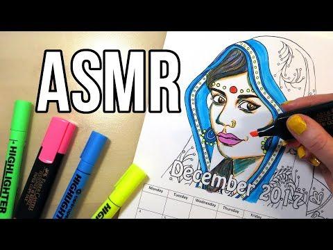Marker Sounds ASMR - No Talking || Coloring Calendar 2017