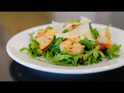 Garlic Shrimp Arugula Salad with Balsamic Vinaigrette
