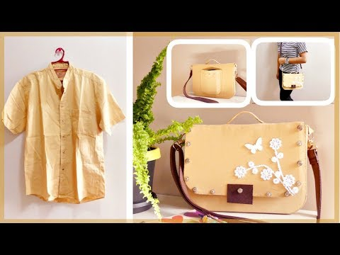 DIY Satchel Bag: From Men's Shirt to Cute Satchel Bag (Recycling Old Clothes)