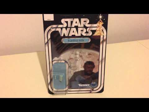 BANTHA MILK - VINTAGE STAR WARS CARD CUSTOM BLUE MILK JUG & GLASS