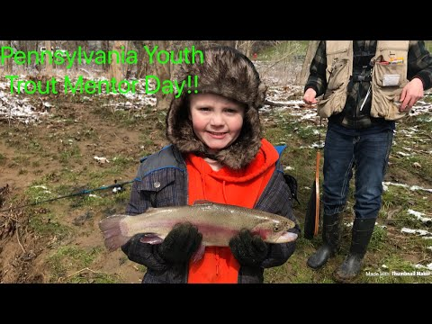 Fishing stocked trout in Pennsylvania creek! (PA Mentored Youth Trout Day)