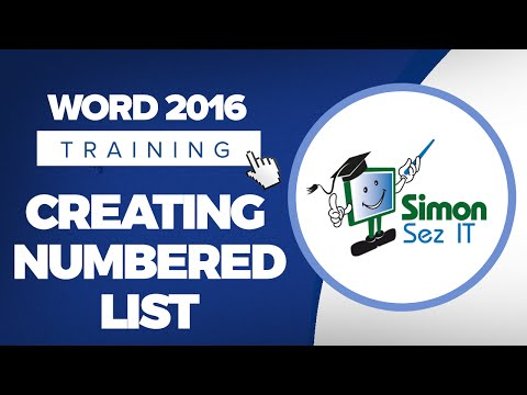 How to Create a Numbered List in Microsoft Word 2016