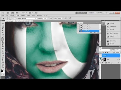 How to Paint Flag on a Face In Photoshop | Face Paint