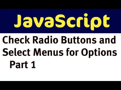 Use JavaScript to Check Radio Buttons and Select Menu - Options for a Product (Part 1)