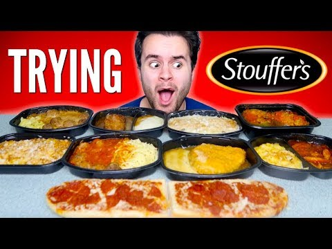 TRYING STOUFFERS FROZEN MEALS! - Pizza Bread, Fried Chicken, & MORE Taste Test!