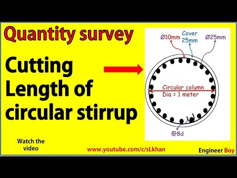 how to find cutting length of circular ties and stirrups