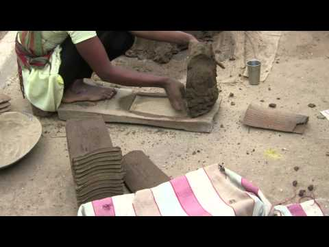 Clay tile making process, INDIA