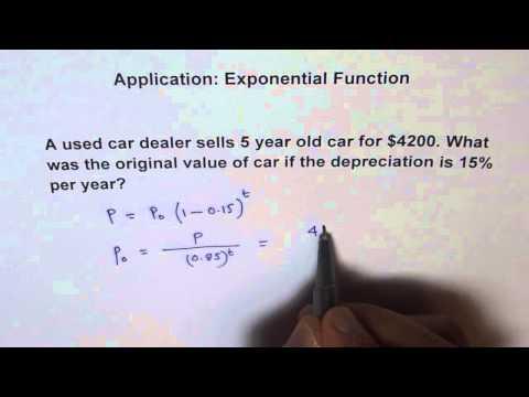Application Exponential Function -- Car Depreciation