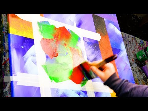 Abstract Painting Demo Acrylics using masking tape, brush and paper towels - Outlive - John Beckley