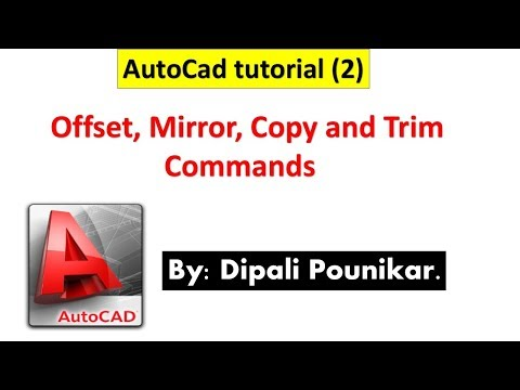 Autocad tutorial (2) on Offset, Mirror, Copy and trim commands