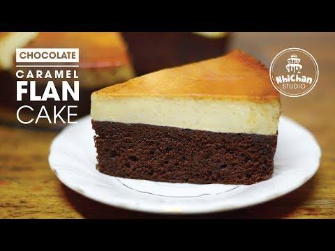 Cách làm Bánh Flan Chocolate Caramel   How to make Flan Chocolate Caramel Cake   Nhi Chan