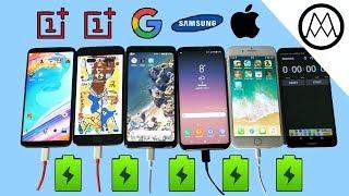 Oneplus 5T vs Pixel 2 XL vs S8 vs iPhone 8 Battery Charging Speed Test!