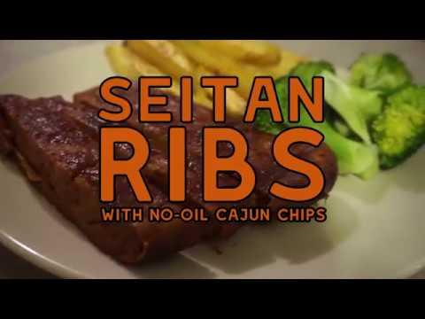 Seitan Ribs with No-Oil Cajun Chips | Motiv Recipe
