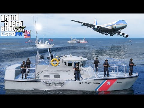 GTA 5 Mods | Coast Guard Guarding The Airport Waterways For The President Landing In Air Force One