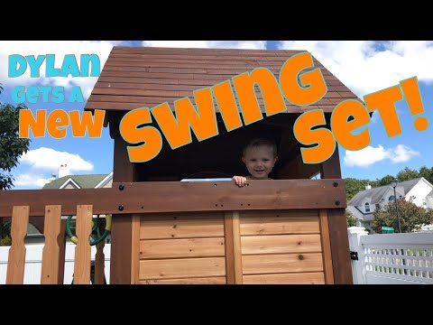 KID GETS NEW SWING SET FROM BACKYARD DISCOVERY - MOUNT TRIUMPH WOODEN SWINGSET! BEST TODDLER CHANNEL