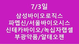 [주식투자]7/3일(삼성바이오로직스/파멥신/서울바이오시스/신테카바이오/녹십자랩셀/부광약품/알테오젠)