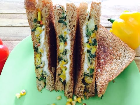 Corn & Spinach Sandwich (With Wheat White sauce)