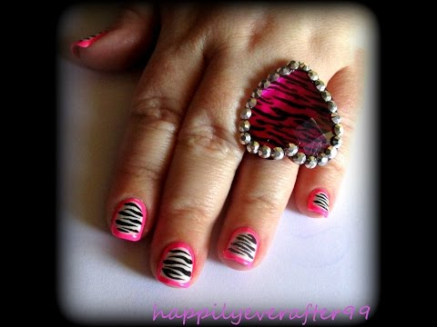 Hot Pink Border with Zebra Print Nail Art