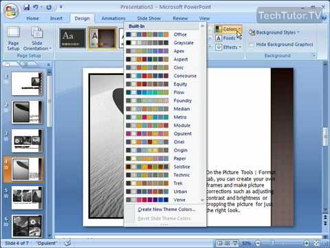 Change a Theme's Colors in PowerPoint 2007