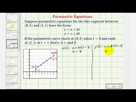 Find the Parametric Equations for a Line Segment Given an Orientation