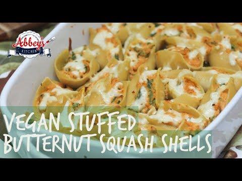 VEGAN Stuffed Butternut Squash Shells with Sage Cream Sauce