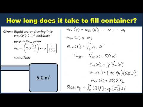 Example: Filling a container with time-varying mass flow rate