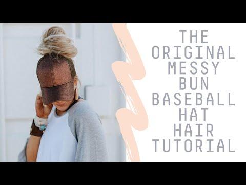 How To Wear a Messy Bun Hat - Top Knot Baseball Cap Hair Tutorial