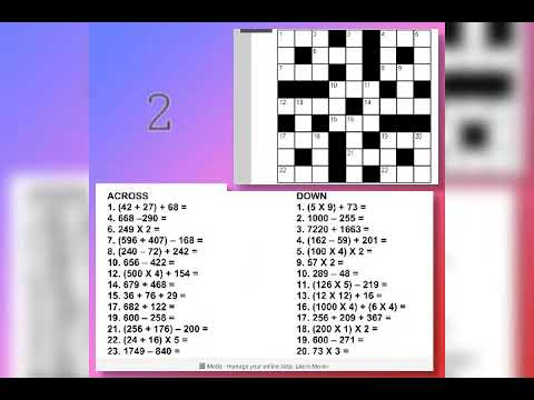 5 puzzles (crosswords) with solution related to math