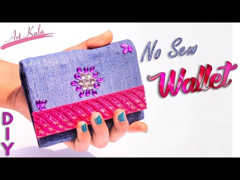 How to make wallet for girls | Old waste jeans/denim | Jeans PURSE NO SEW Tutorial | Artkala 157