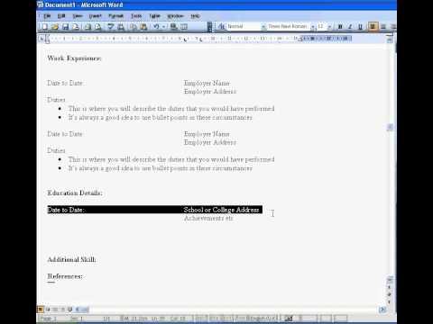 Create a CV in Word 2003
