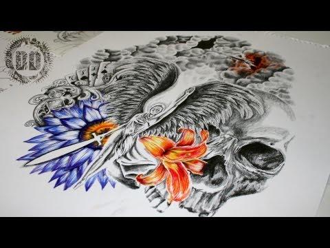 Guardian Angel Half Sleeve Tattoo Design - Speed Drawing