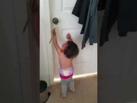 One year old baby Breaking into a door with a butter knife