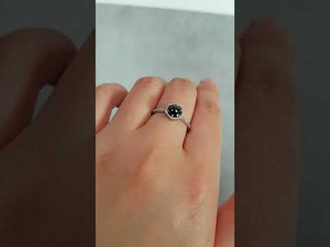 Rose Cut Black Diamond Ring - Micro Pave Diamond Band - Choose Your Setting